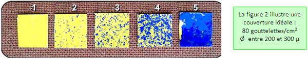 Exemple de contrôle de qualité avec papier sensible de couleur jaune qui vire au bleu au contact à l'eau.